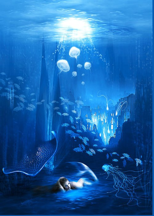 Abstract Greeting Card featuring the digital art Underwater World by Svetlana Sewell