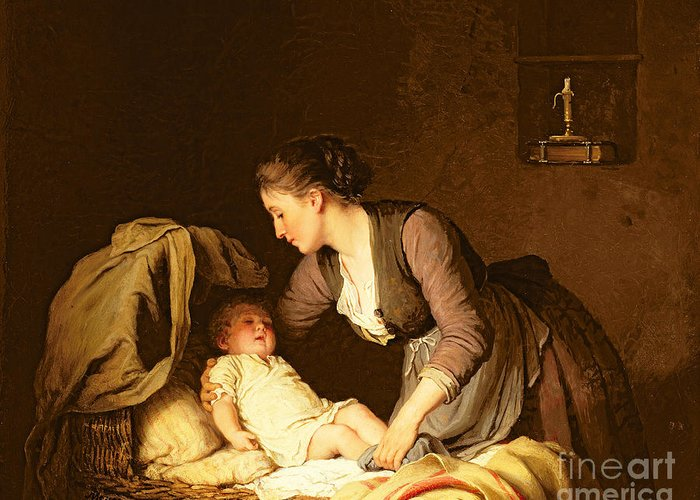 Undressing Greeting Card featuring the painting Undressing The Baby by Meyer von Bremen