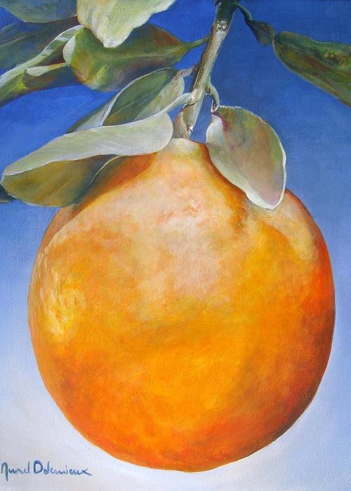 Floral Painting Greeting Card featuring the painting Une Orange by Muriel Dolemieux