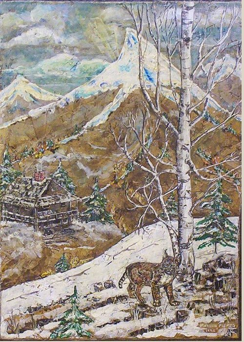 Snow Scene Greeting Card featuring the painting Unexpected Guest I by Phyllis Mae Richardson Fisher