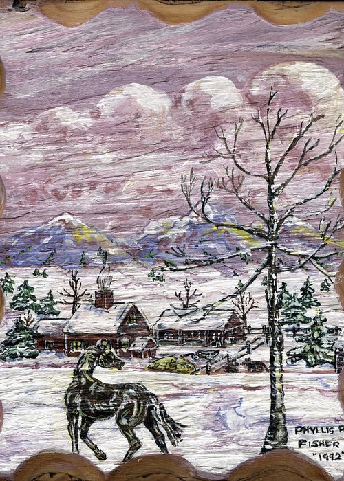 Snow Scene Greeting Card featuring the painting Unexpected Guest II by Phyllis Mae Richardson Fisher