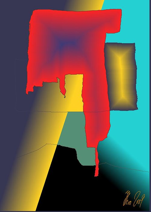Red Greeting Card featuring the digital art Unexpected- Red by Helmut Rottler