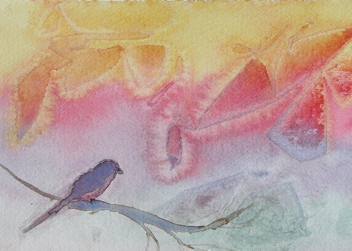 Birds Greeting Card featuring the painting Unexpected Visitor by Dottie Briggs