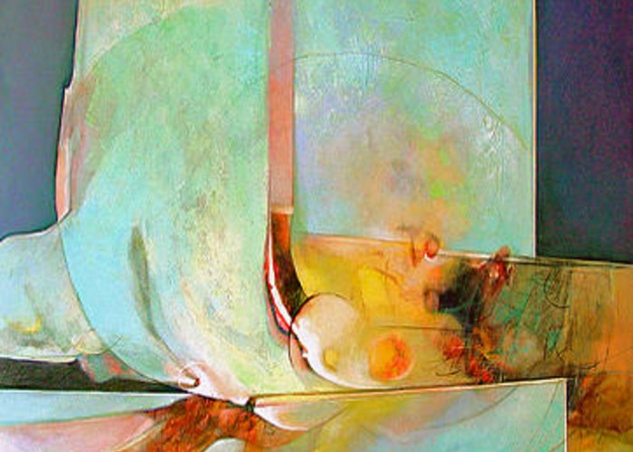 Abstract Greeting Card featuring the painting Unfolding by Dale Witherow
