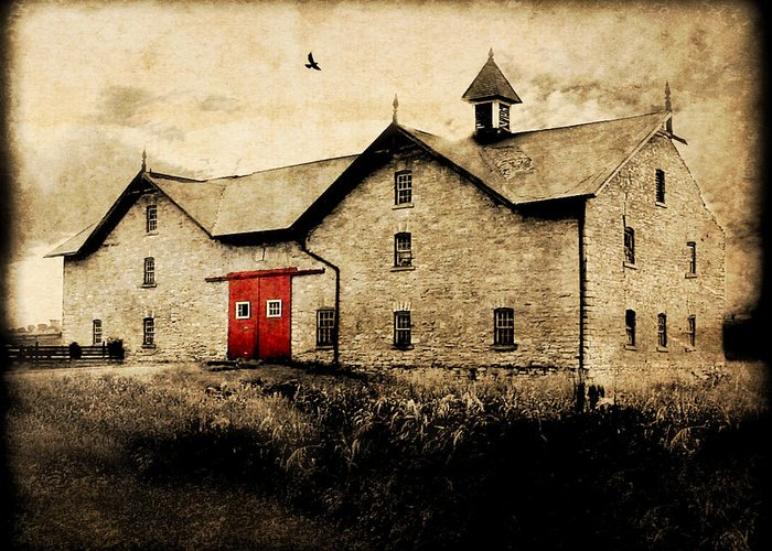 Brick Greeting Card featuring the photograph Uni Barn by Julie Hamilton