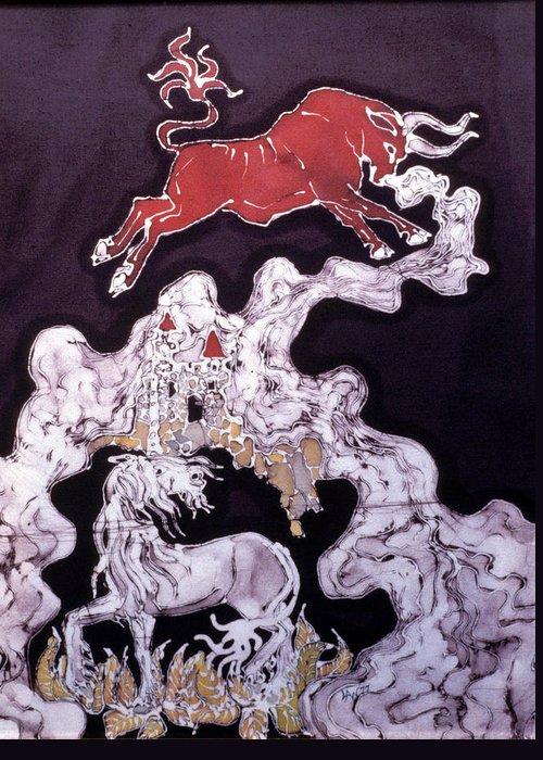 Unicorn Greeting Card featuring the tapestry - textile Unicorn And Red Bull by Carol Law Conklin