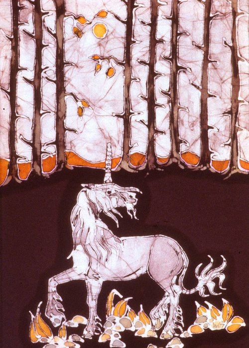 Unicorn Greeting Card featuring the tapestry - textile Unicorn Below Trees In Autumn by Carol Law Conklin