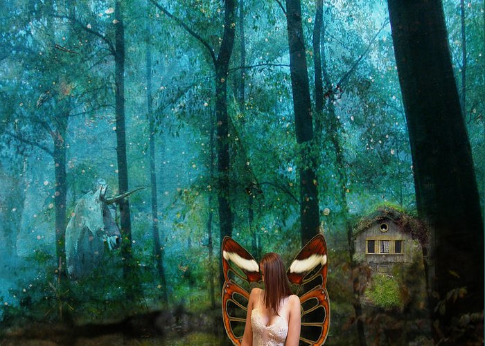 Fairy Greeting Card featuring the digital art Unicorn In The Forest by Patricia Ridlon