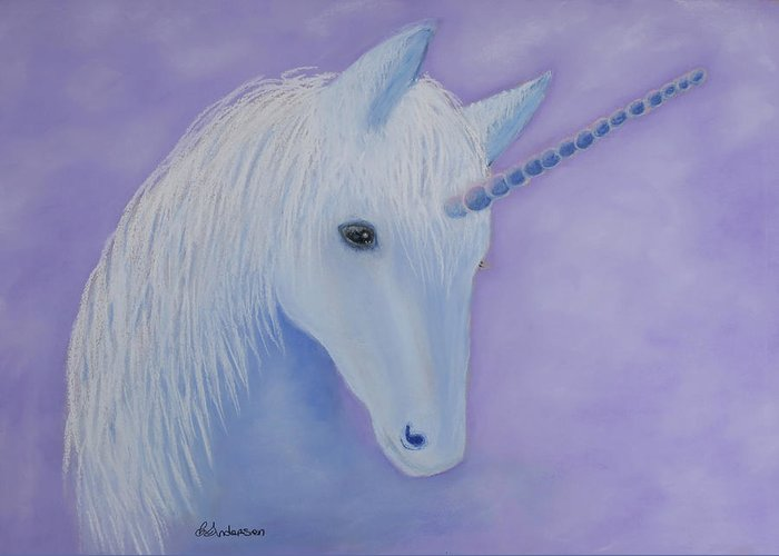 Unicorn Greeting Card featuring the pastel Unicorn by Louise Andersen