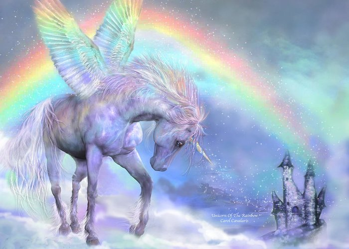 Unicorn Greeting Card featuring the mixed media Unicorn Of The Rainbow by Carol Cavalaris
