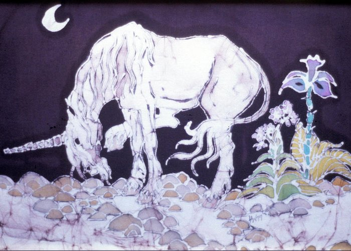 Unicorn Greeting Card featuring the tapestry - textile Unicorn Pauses by Carol Law Conklin