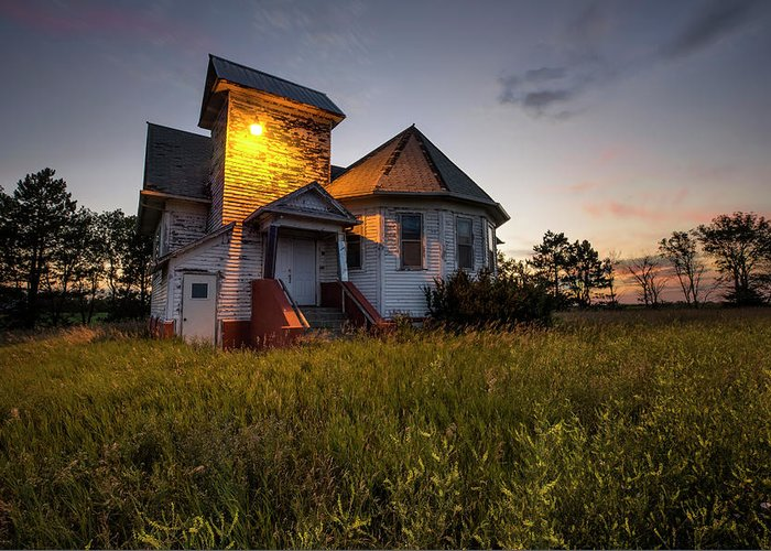 Union Church Greeting Card featuring the photograph Union by Aaron J Groen