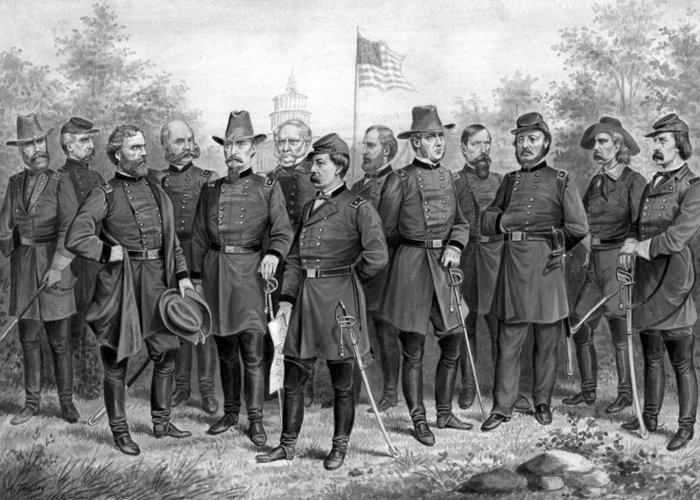 Civil War Greeting Card featuring the painting Union Generals Of The Civil War by War Is Hell Store