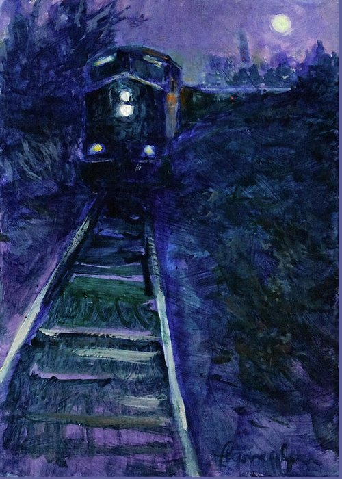 Train Greeting Card featuring the painting Union Pacific At Night by Tracie Thompson