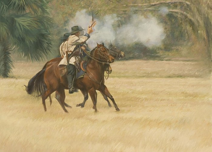 Union Greeting Card featuring the painting Union Riders by Linda Eades Blackburn