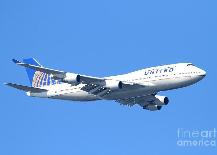 Transportation Greeting Card featuring the photograph United Airlines Boeing 747 . 7d7850 by Wingsdomain Art and Photography