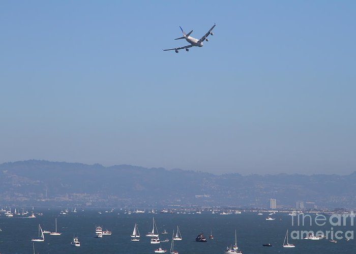 Transportation Greeting Card featuring the photograph United Airlines Boeing 747 Over The San Francisco Bay At Fleet Week . 7d7860 by Wingsdomain Art and Photography