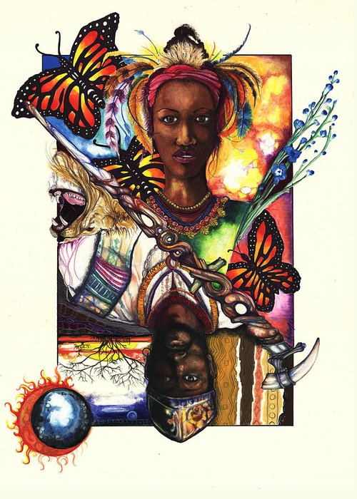 King Greeting Card featuring the drawing United by Anthony Burks Sr