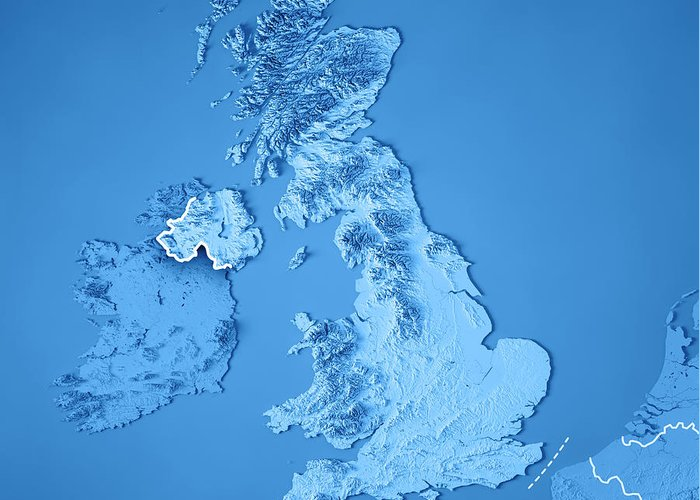 3d Terrain Map Of Uk.United Kingdom Country 3d Render Topographic Map Blue Border Greeting Card
