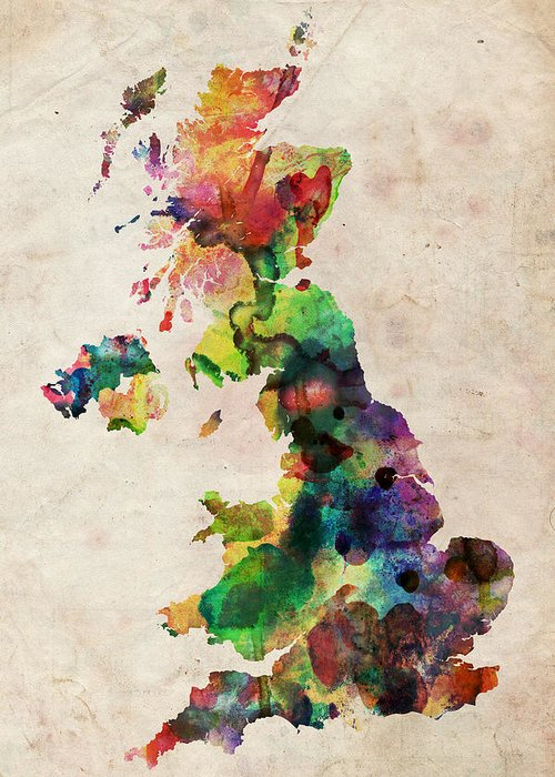 United Kingdom Map Greeting Card featuring the digital art United Kingdom Watercolor Map by Michael Tompsett