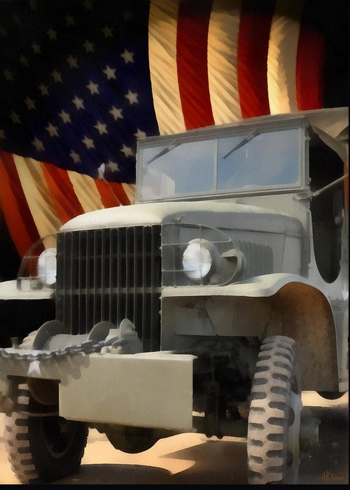 Usa Greeting Card featuring the painting United States Army Truck And American Flag by Anne Kitzman