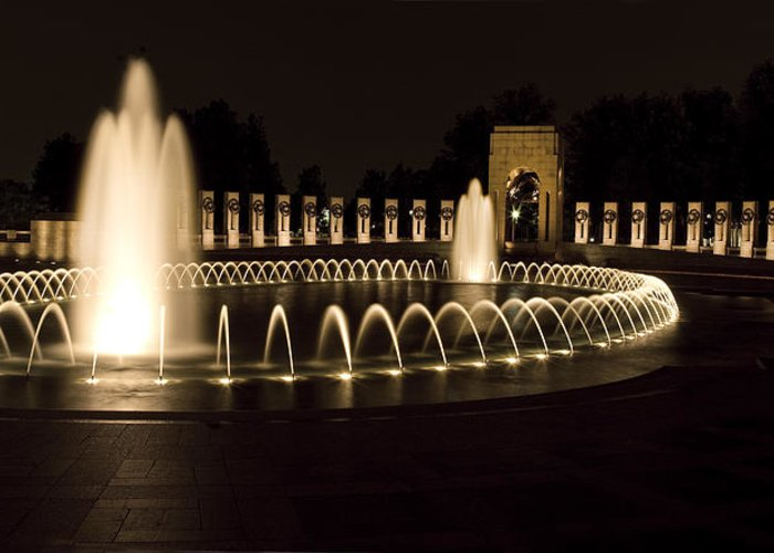 world War Ii Memorial Greeting Card featuring the photograph United States National World War II Memorial In Washington Dc by Brendan Reals
