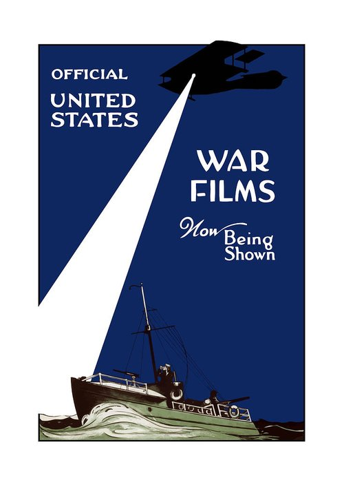 War Films Greeting Card featuring the painting United States War Films Now Being Shown by War Is Hell Store