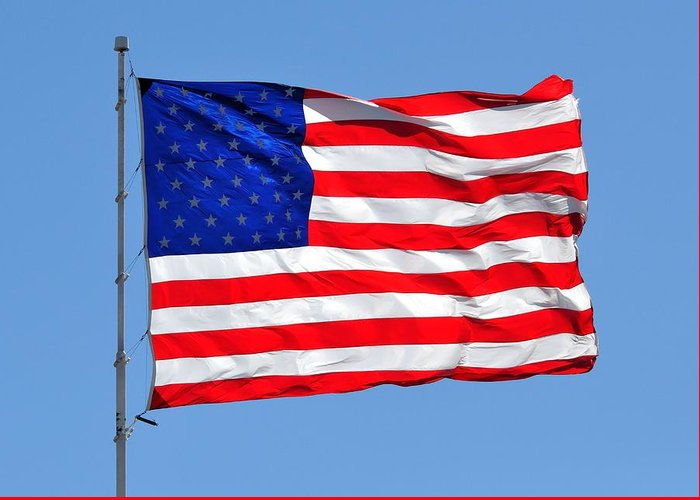 American Flag Greeting Card featuring the photograph United We Stand United We Fall by Ruben Barbosa