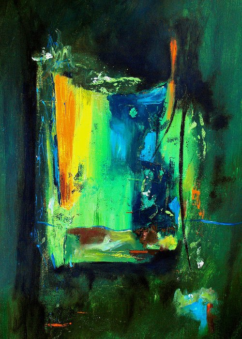 Abstract Greeting Card featuring the painting Unity In The Body by Ruth Palmer