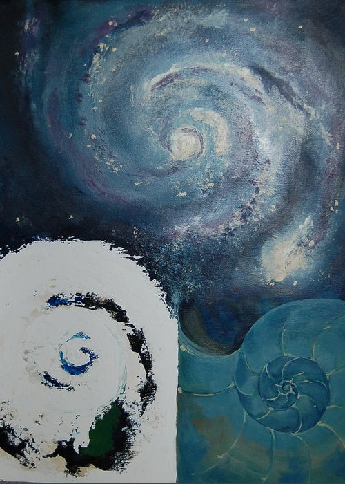 Abstract Greeting Card featuring the painting Universal Mathematics by DeLa Hayes Coward