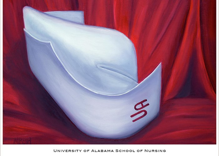 Nurse Greeting Card featuring the painting University Of Alabama School Of Nursing by Marlyn Boyd