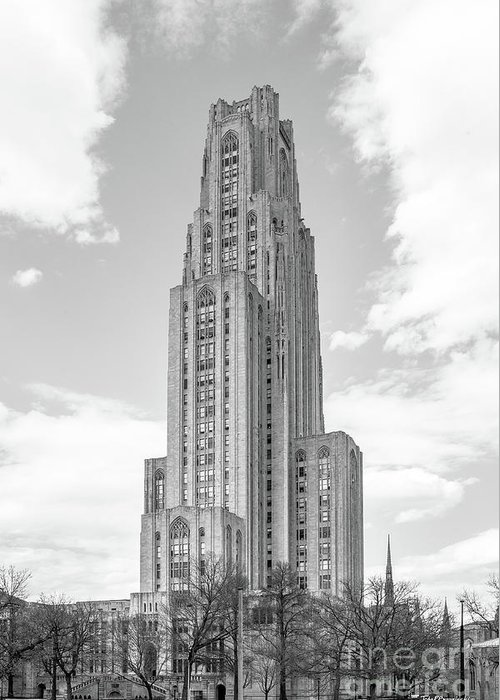 Aau Greeting Card featuring the photograph University Of Pittsburgh Cathedral Of Learning by University Icons
