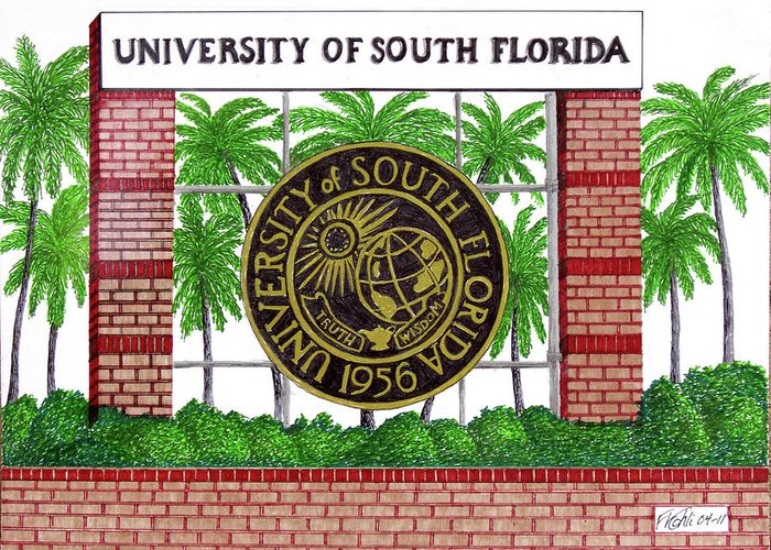 University Of South Florida Buildings Drawings Greeting Card featuring the drawing University Of South Florida by Frederic Kohli