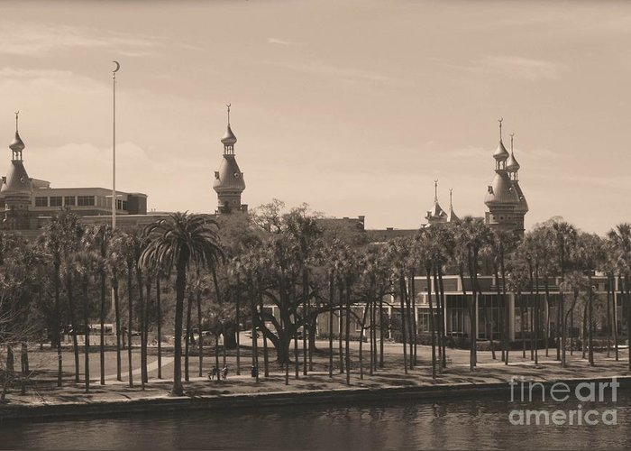 Tampa Greeting Card featuring the photograph University Of Tampa With Old World Framing by Carol Groenen