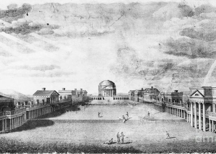 1826 Greeting Card featuring the photograph University Of Virginia by Granger