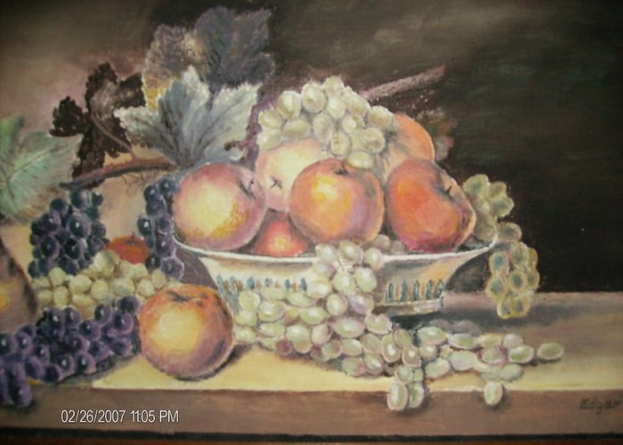 Fruit Greeting Card featuring the painting Unknown by Anne-Elizabeth Whiteway