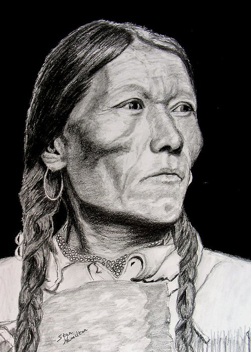 Indian Greeting Card featuring the drawing Unknown Indian Vii by Stan Hamilton
