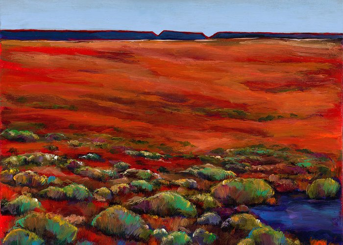 Southwestern Landscape Greeting Card featuring the painting Unknown Plateau by Johnathan Harris