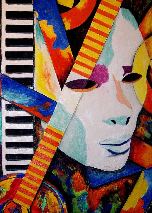 Keyboard Greeting Card featuring the mixed media Unmasking The Sound by Angela Green
