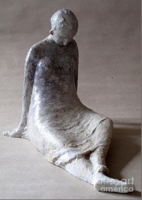 Sculpture Greeting Card featuring the sculpture Unnamed by Raimonda Jatkeviciute-Kasparaviciene