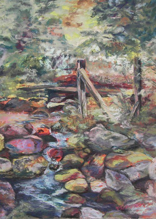 Landscape Greeting Card featuring the pastel Unseated On Trout Brook by Alicia Drakiotes