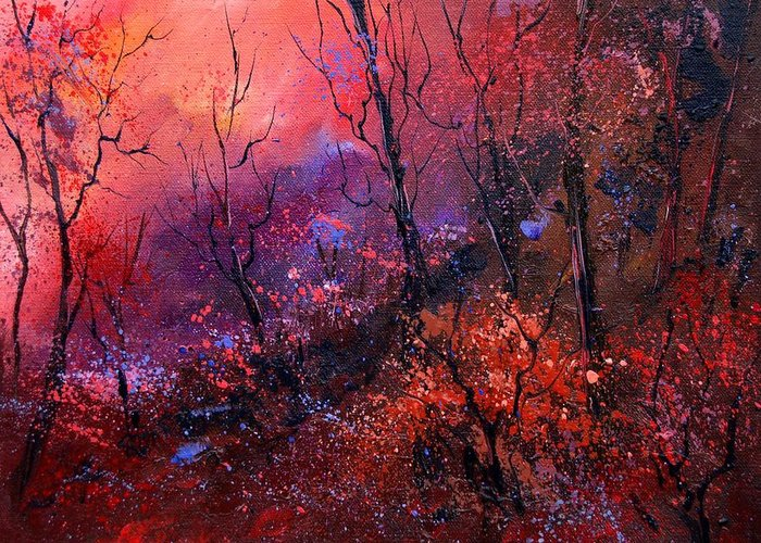 Wood Sunset Tree Greeting Card featuring the painting Unset In The Wood by Pol Ledent
