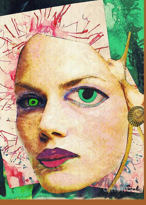 Portrait Greeting Card featuring the mixed media Unsettling Gaze by Sarah Loft