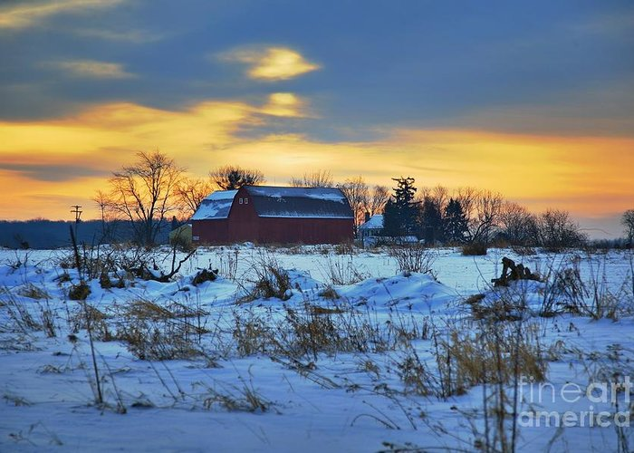 Michigan Farm Winter Cold Morning Related Tags: Barns Artwork Greeting Card featuring the photograph Until Spring by Robert Pearson