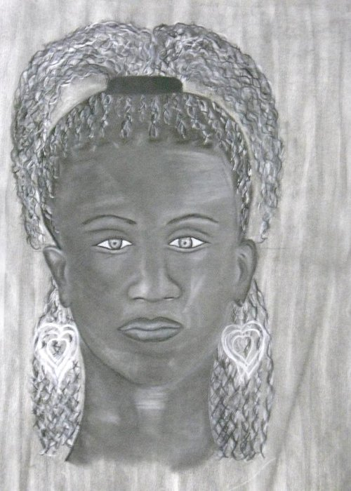 Woman Greeting Card featuring the drawing Untimely Beauty by Katrice Kinlaw