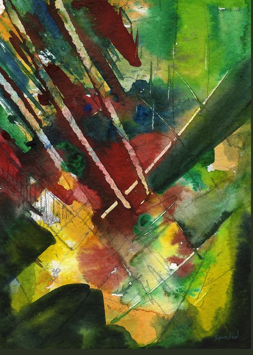 Watercolor Greeting Card featuring the painting Untitled Abstract by Sean Seal
