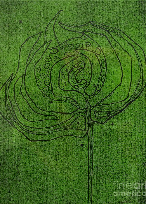 Green Greeting Card featuring the painting Untitled by Angela Dickerson