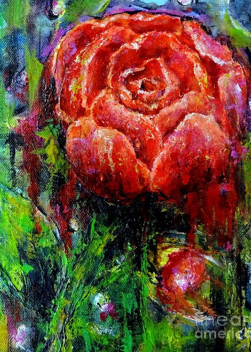 Flowers Greeting Card featuring the painting Untitled by Brigitta Richter