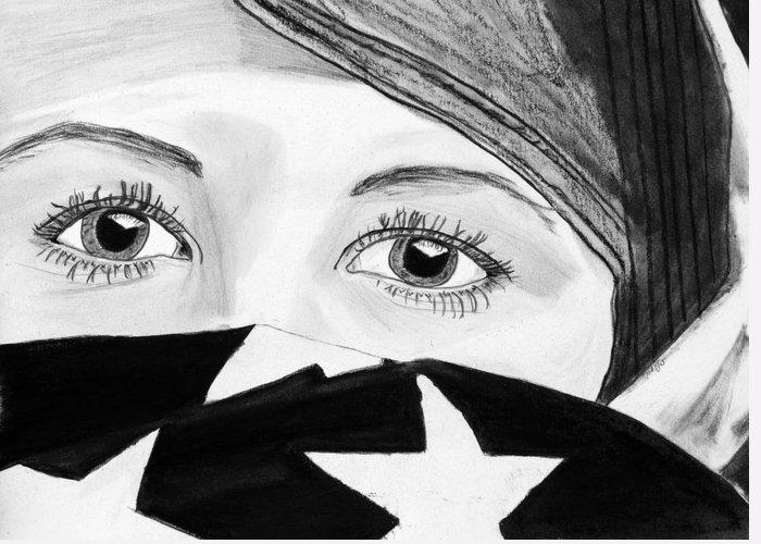 Lady Woman Flag America American Arab-american Eyes Beautiful Greeting Card featuring the drawing Untitled by Cathy Jourdan