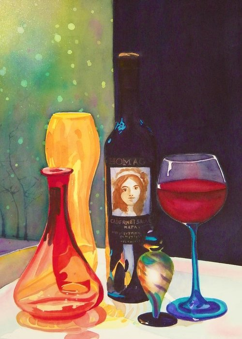 Glass Greeting Card featuring the painting Untitled Glass by Terry Honstead